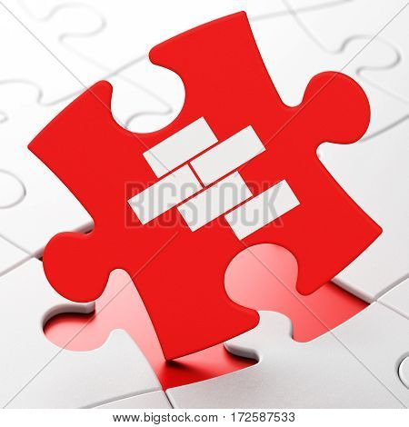 Building construction concept: Bricks on Red puzzle pieces background, 3D rendering