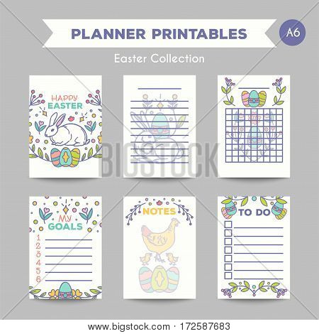 Easter journal card design vector illustration. Line style printable cards.