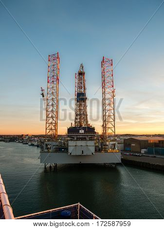 IJMUIDEN. NETHERLANDS - 20 JAN. 2017: Oil rig Paragon C463 lies docked in the port of IJmuiden for maintenance before continuing its activities in the North Sea