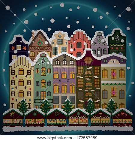 Christmas and Happy New Year greeting card. Vector illustration.