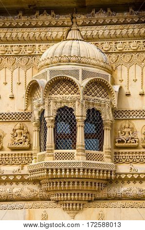 Intricate carvings on the window of the Sanatan Temple in Wembley, United Kingdom