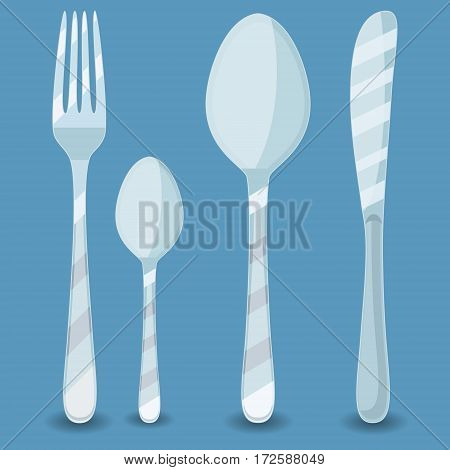 Fork, spoon and knife isolated on white. Vector illustration. Silverware: fork, knife and spoon