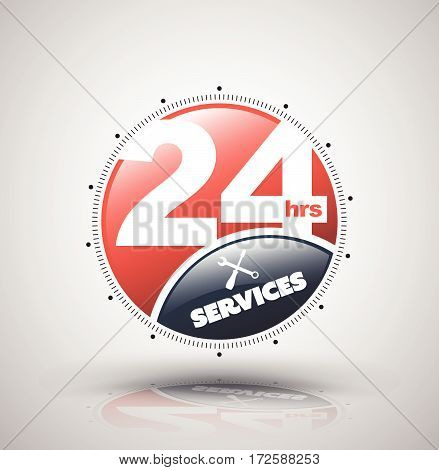 Modern icon 24 hours services. Vector illustration for nonstop service business.