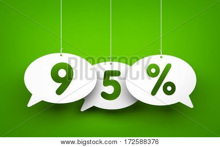 Chat bubbles with numbers hanging on the ropes. 3d illustration