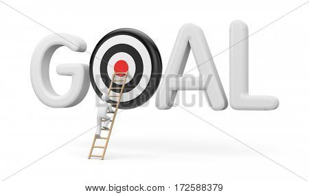Man climbs to the stairs to the target goals. 3d illustration