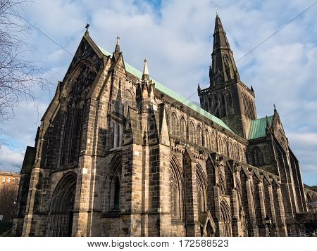 Exterior of Glasgow Cathedral, also named the High Kirk of Glasgow or St. Mungo's Cathedral. It survived the Scottish Reformation