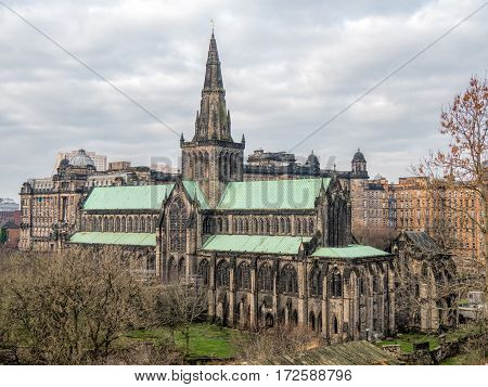View on the exterior of Glasgow Cathedral from Necropolis. It is also named the High Kirk of Glasgow or St. Mungo's Cathedral ans survided the Reformation