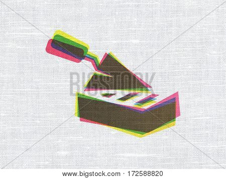 Building construction concept: CMYK Brick Wall on linen fabric texture background