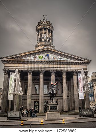 GLASGOW, SCOTLAND - 29 JAN 2017: Exterior of the Glasgow Gallery of Modern Art, which displays work by local and international artists. The neoclassical building was once home to the royal stock exchange.