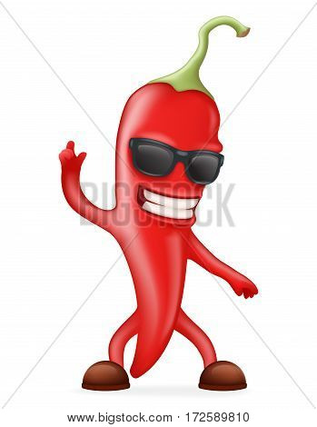 Hot Chili Pepper Sunglasses Happy Character Realistic Design Vector illustration