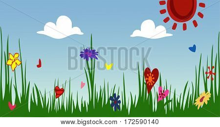 Spring Sunny meadow. Green grass with flowers against the sky. The idyllic cartoonish picture of a warm summer day.  Flat style, vector illustration. Horizontal location.