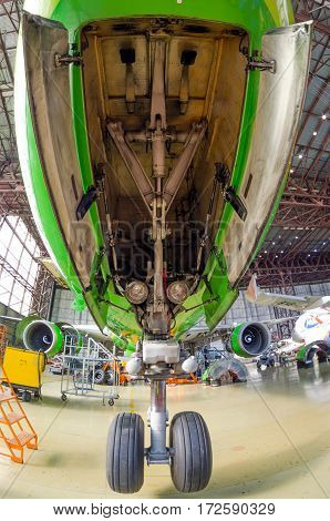 Aircraft and large front landing gear. Boeing 767 S7 airlines, airport Tolmachevo, Russia Novosibirsk 12 April 2014