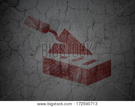 Building construction concept: Red Brick Wall on grunge textured concrete wall background