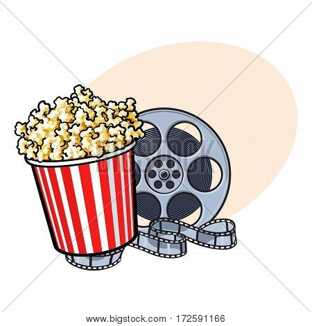 Cinema objects - popcorn in red and white striped bucket and retro style film reel, sketch vector illustration with place for text. Popcorn bucket and film reel, cinema attribute, object