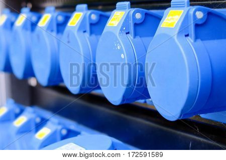 image of power plugs connected in industrial plant