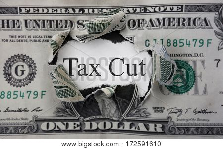 Tax Cut text on a scrap of paper within a torn dollar bill