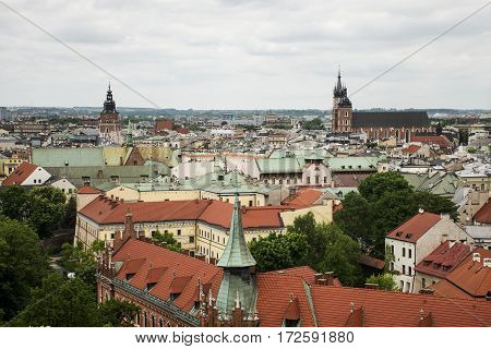 Aerial view Krakow Poland - Church St. Mary and roof of the city