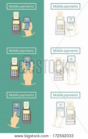 Mobile payment set of flat and linear symbol or icon design with phone and terminal