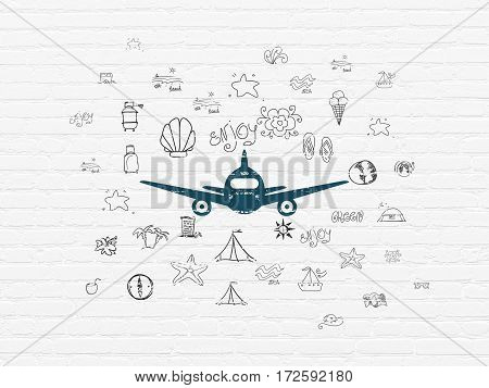 Tourism concept: Painted blue Aircraft icon on White Brick wall background with  Hand Drawn Vacation Icons