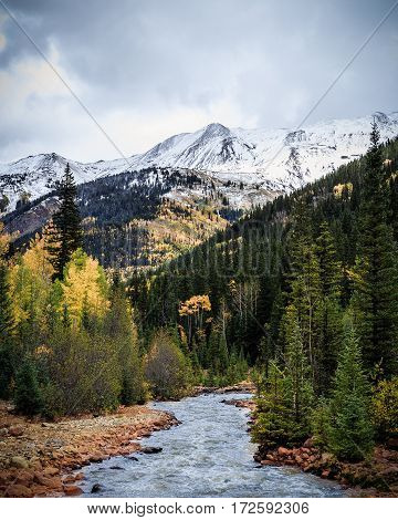Autumn color and snowy peaks on Red Mountain, Colorado