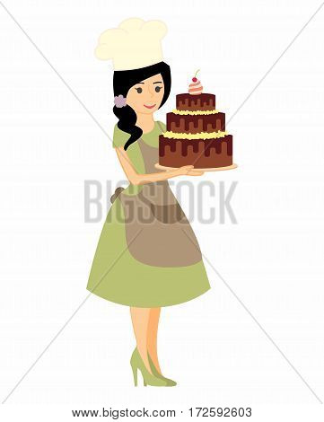 Female character with a cake. Beautiful housewife in green dress and apron, woman master baker holding a delicious pie. Vector illustration in a flat style