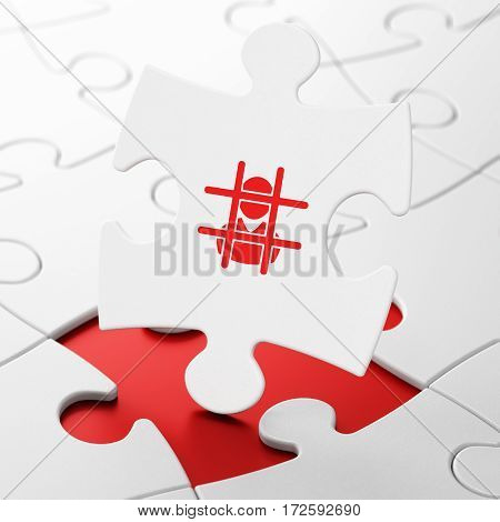 Law concept: Criminal on White puzzle pieces background, 3D rendering