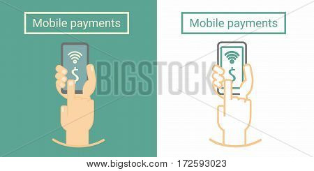 Mobile payment, hand holding phone and push on screen. Flat and linear symbol or icon design