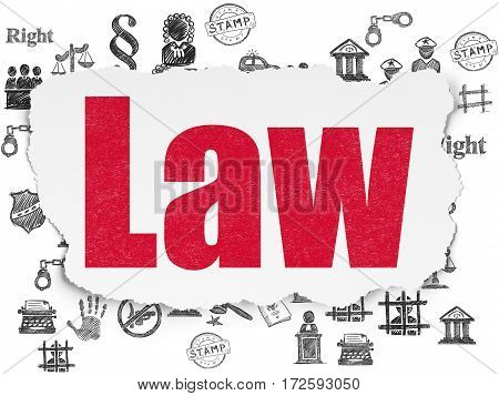 Law concept: Painted red text Law on Torn Paper background with  Hand Drawn Law Icons