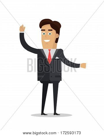Businessman character vector. Flat style design. Smiling man in  suite standing with raised hand. People greeting illustration. For business, emotions concepts, people infographics. Isolated on white