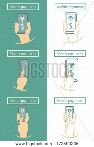 Mobile payment, hand holding phone. Set of flat and linear symbol or icon design