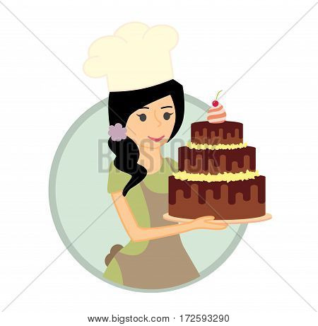 Cute girl or young woman baker holding a delicious chocolate cake. Vector character illustration.