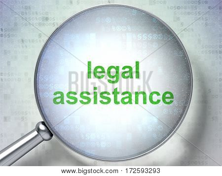 Law concept: magnifying optical glass with words Legal Assistance on digital background, 3D rendering