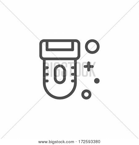 Epilator line icon isolated on white. Vector illustration