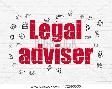 Law concept: Painted red text Legal Adviser on White Brick wall background with  Hand Drawn Law Icons