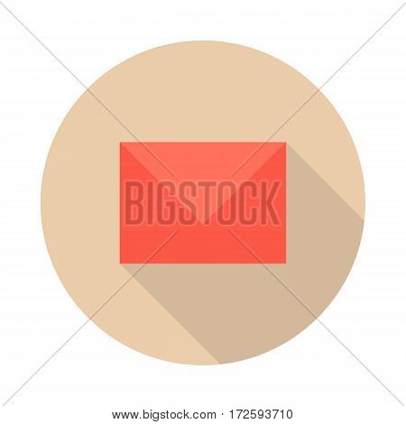 Envelope mail icon with long shadow. Red envelope mail on round burgundy background. Mail icon. Email icon. Isolated vector illustration on white background.