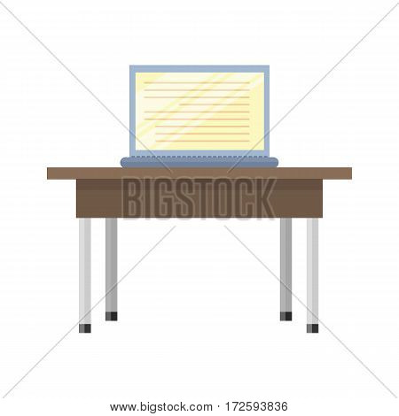 Wooden table with open laptop on him. Illustration of a classical brown wooden table with steel legs. Wooden deck table with open notebook. Isolated vector illustration on white background.