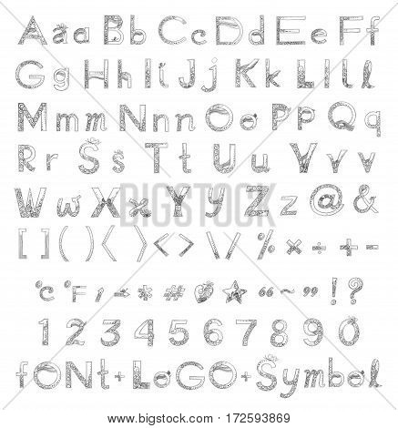 Font A to Z and number design of Vanda orchid flower freehand pencil sketch Concept fancy set have font and symbol type on keyboard some alphabet have Butterfly black and white color