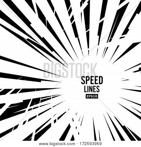 Comic Speed Lines Vector. Graphic Explosion Of Speed Lines. Comic Book Design Element. Manga Speed Frame. Superhero