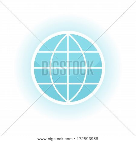 Vector globe icon. Blue symbols of the planet. Abstract globe symbol. Earth icon. White and blue icon in line design. Isolated object on white background. Vector illustration
