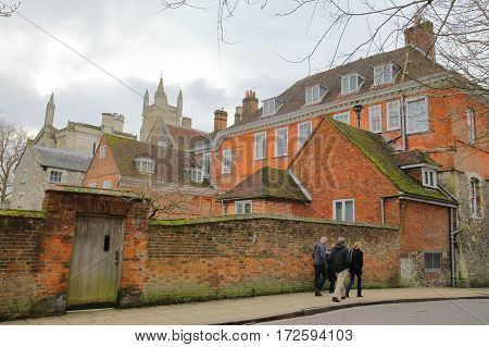 WINCHESTER, UK - FEBRUARY 5, 2017: View of Winchester College from College Street