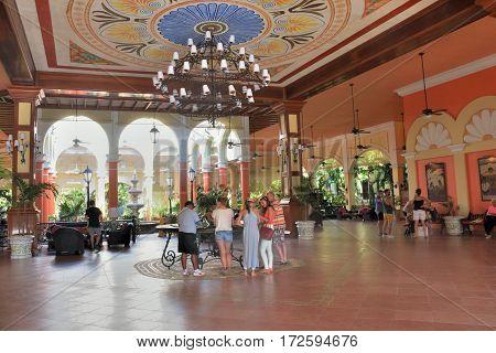 Playa del Carmen Mexico - January 28 2017: Reception area of large Caribbean Resort hotel