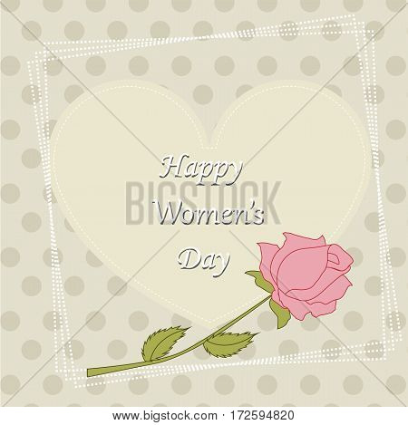 celebratory poster of a happy woman with a flower rose. template for greeting card. vector illustration