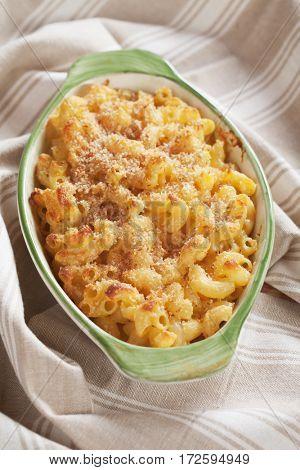 American mac and cheese, macaroni pasta in cheesy sauce