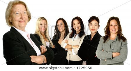 Mature Businesswoman With Diverse Team Of Women