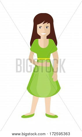 Female character in green dress and shoes isolated on white in flat design. Woman template personnage illustration for feminist concepts, fashion app, logos, infographic. Fashion girl. Vector