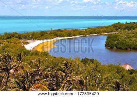 Isla Contoy   Sand    Mexico  Sunny Day  Wave