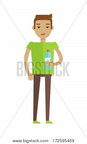 Drinking clean water vector. Flat design. Young man standing with bottle of water. Healthy drinks. Valuable natural resources. For ecological and healthcare concepts. Isolated on white background
