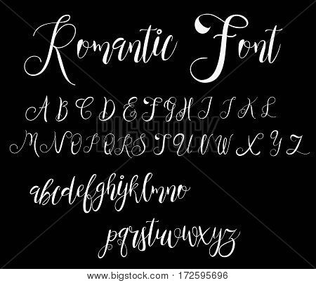 Calligraphy tattoo alphabet. English script: lowercase, uppercase.Typeset lettering. Copy-book hand font. Calligraphic, sketch of ABC letters in old fashion vintage style.