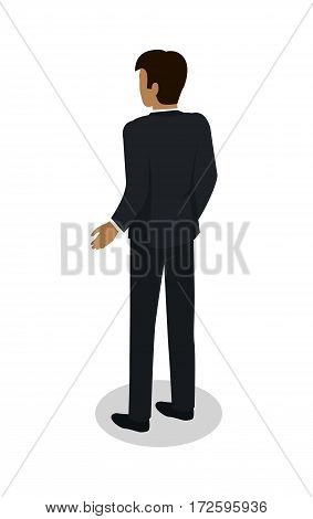 Businessman icon. Man character in business suit standing turned back isometric projection vector illustration isolated on white background. For apps, infographics, game environment, web design