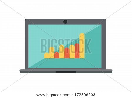 Chart diagram on the laptop isolated on white. Creating web page with help of modern internet technologies. Computer device works for content search engine optimization. SEO concept. Vector